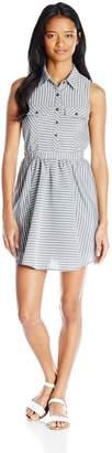 Jolt Women's Texture Stripe Lawn Button Front Dress