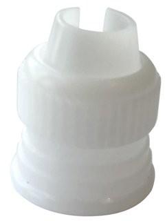 "Restaurantware Pastry Tek White Plastic Piping Bag Coupler - Reusable - 1"" x 1"" x 1"" - 1 count box"