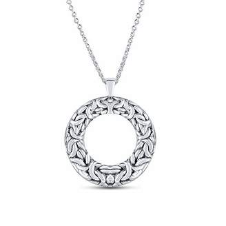 Charmsy Sterling Silver Jewelry Byzantine Open-Space Circle Pendant with Cable Chain for Women 35 MM