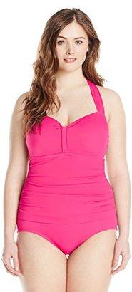 Jantzen Women's Plus-Size Halter-Neck Swimsuit $110 thestylecure.com