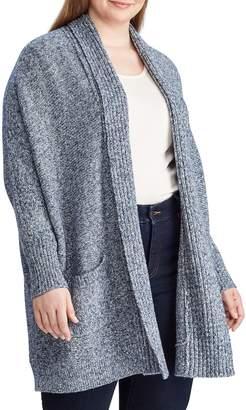 Chaps Plus Cotton-Blend Open-Front Cardigan
