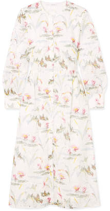 Vilshenko Kimberley Floral-print Broderie Anglaise Cotton-blend Dress - Ivory