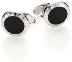 Alfred Dunhilldunhill Onyx & Sterling Silver Cuff Links