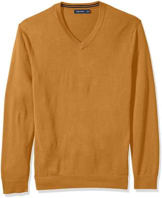 Nautica Men's Long Sleeve Solid Classic V-neck Sweater Sweater, -Caramel Heather