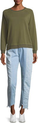 Neiman Marcus Etienne Marcel Reily Two-Tone Light-Wash Straight-Leg Jeans