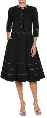 Piazza Sempione 3/4-Sleeve Contrast-Trim A-line Dress