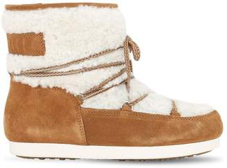Moon Boot LEATHER & SHEARLING ANKLE SNOW BOOTS