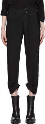 Ann Demeulemeester Black Grosgrain Belted Trousers