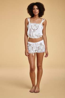 Miguelina Hannah Mirage Paisley Broderie Anglaise Top - Pure White