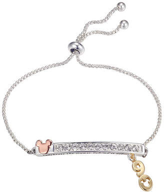 Disney Pure Silver Over Brass Mickey Mouse Bolo Bracelet