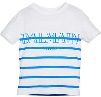 Balmain Striped Logo Short-Sleeve Tee, Size 12-16
