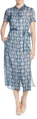 T Tahari Printed Short-Sleeve Shirt Dress