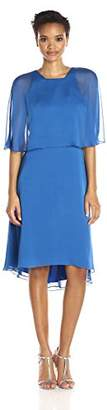 Halston Women's Short Sleeve Round Neck Dress with Back Cut Out and Sash