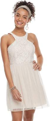 Speechless Juniors' Lace Halter Prom Dress