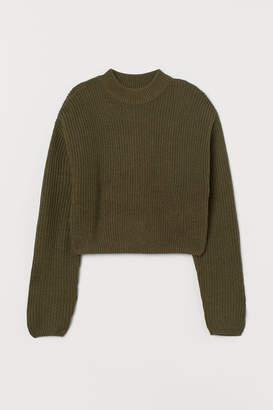 H&M Knit Mock-turtleneck Sweater - Green