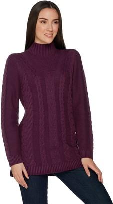 Denim & Co. Regular Mock Neck Cable Knit Tunic Sweater