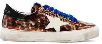 Golden Goose May Distressed Metallic Leopard-print Leather Sneakers