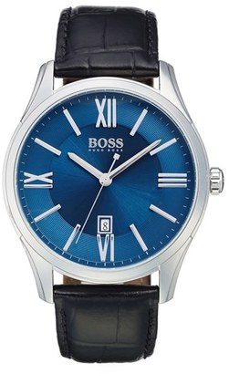 Boss 'Ambassador' Embossed Leather Strap Watch, 43Mm $195 thestylecure.com
