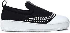 McQ Studded Neoprene And Leather Slip-On Sneakers