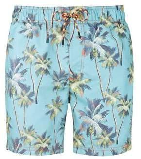 Burton Mens Tokyo Laundry Blue Palm Print Swim Shorts*
