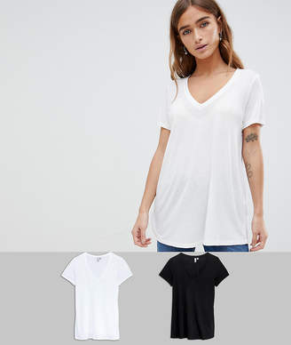 Asos DESIGN Petite v-neck swing t-shirt 2 pack SAVE
