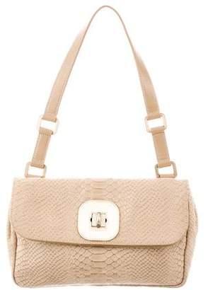 Longchamp Embossed Leather Shoulder Bag