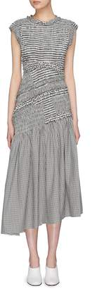 3.1 Phillip Lim Cutout back ruffle smocked gingham check dress