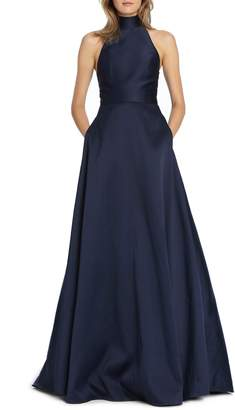 ML Monique Lhuillier Satin Mock Neck Evening Dress