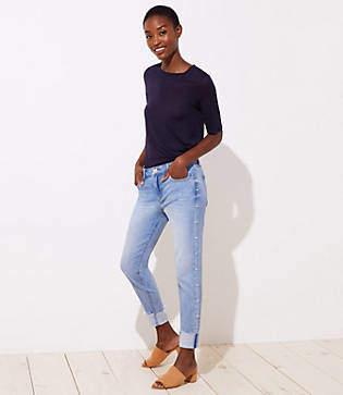 LOFT Tall Pearlized Trim Flip Cuff Skinny Jeans in Staple Light Indigo Wash