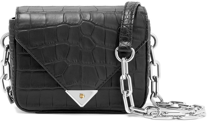 Alexander WangAlexander Wang Prisma matte croc-effect leather shoulder bag