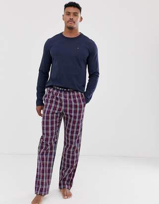 Tommy Hilfiger lounge set with navy long sleeve t-shirt and check pyjama pants