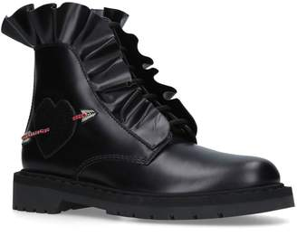Valentino Ruffle Biker Boots