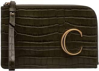 Chloé C croc-effect clutch