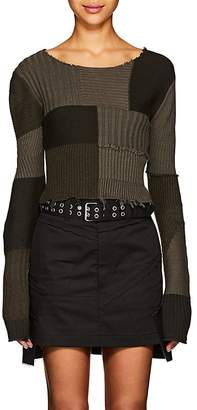 Helmut Lang Women's Multi-Knit Cotton-Wool Crop Sweater