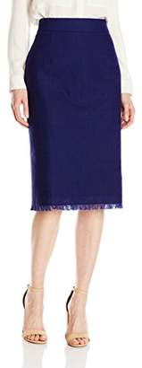Lark & Ro Women's Frayed Edge Pencil Skirt