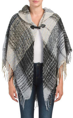 Woven Boucle Multi Plaid Cape