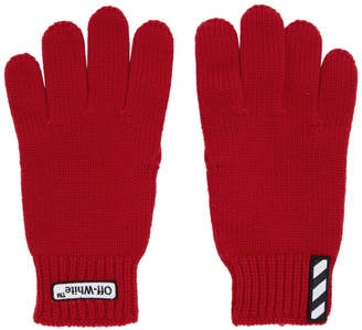 Off-White Red Patch Gloves