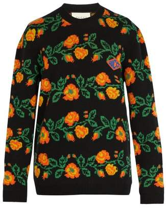 fce19f0bb80 Gucci Floral Crew Neck Logo Patch Sweater - Mens - Black