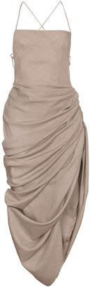 Dress with draped hem and strappy back
