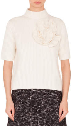 Akris Punto Mock-Neck Elbow-Sleeve Ribbed Cashmere-Blend Pullover Sweater w/Flower Detail