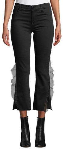 J Brand Selena Mid-Rise Cropped Ruffle Boot-Cut Jeans