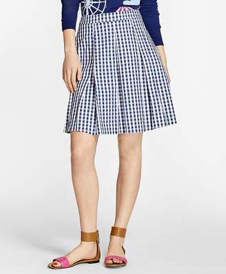 Gingham Stretch-Cotton Pleated Skirt $78 thestylecure.com