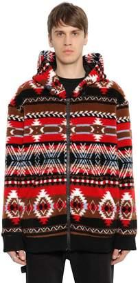 MSGM Hooded Zip-Up Wool Blend Fleece Jacket