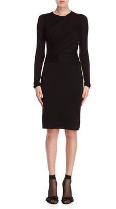 Giambattista Valli Black Ruched Bodycon Wool Sweater Dress