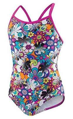 Speedo Girls Thin Strap One Piece Swimsuit Pop Art Floral