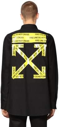 Off-White Oversize Fire Line Cotton Poplin Shirt