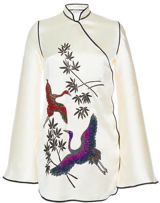 Attico Elena Silk Kimono Dress With Embroideries