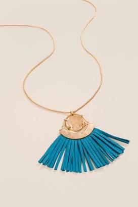 francesca's Trixie Suede Fringe Tassel Necklace - Teal