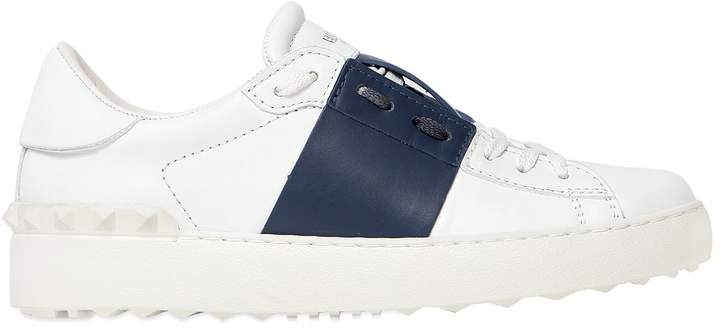 Valentino Open Leather Sneakers With Colored Band