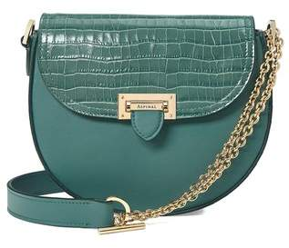 Aspinal of London Portobello Bag In Deep Shine Sage Small Croc Smooth Sage